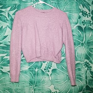 Fuzzy Lilac Cropped Sweater